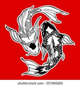 koi carp; yin yang symbol; feng shui