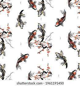 Koi carps and red sacura SEAMLESS PATTERN. The vector illustration of two carps in clear water under sacura tree. - Vector