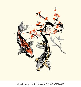 Koi carps and red sacura. The vector illustration of two carps in clear water under sacura tree. - Vector