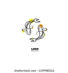 Koi fish in black and white paint art for vintage or modern logo and art illustration