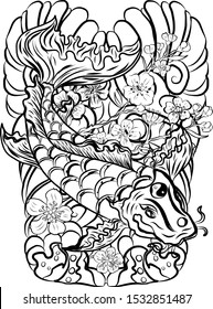 Koi fish carp with flower and clouds background for tattoo style.Chinese tattoo.Korean sleeve tattoo design with wave and sakura floral vector.Gold fish for painting on T-shirt or wallpaper background