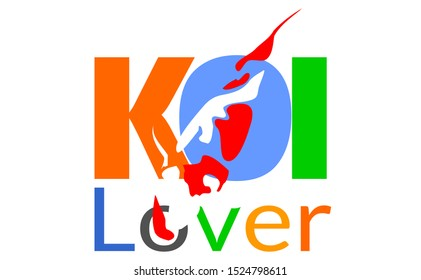 koi fish drawing sticker design consist of letter and koi logo drawing. elegant simple and nature koi image of fish variety with white background. creative design fish logo with K O and I alphabetic.