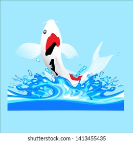 koi fish jump in water background