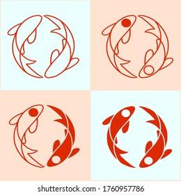 KOI fish logo 4 in 1
