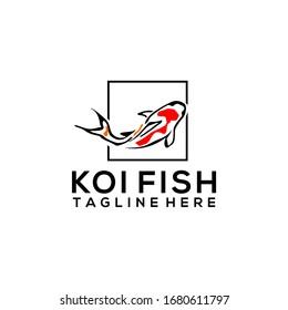 Koi Fish Logo Design Vector Template
