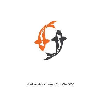 Koi fish logo vector icon template