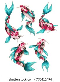 Koi fish on Japanese style for your design