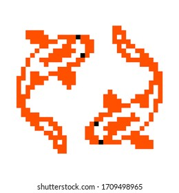 Koi fish pattern. Pixel koi fish isolated two image. Vector Illustration of pixel art.