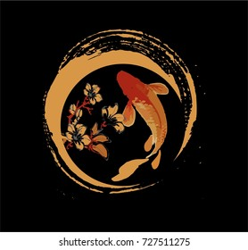 Koi fish and sakura flower in red and gold brush water color for modern logo and art illustration