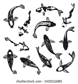Koi fish silhouettes. Black and white swimming koi carp fishes drawings vector illustration, asian china or japanese pisces silhouette vector graphics