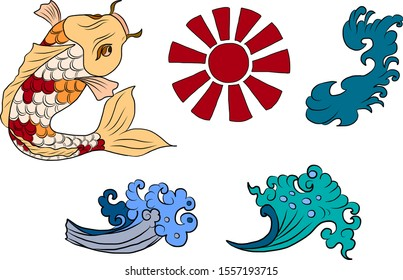 Koi fish and sunrise,wave for tattoo style on isolated white background.Chinese clouds and waves set.Symbol of Japanese culture for compose design on background.Koi carp vector illustration with sun.