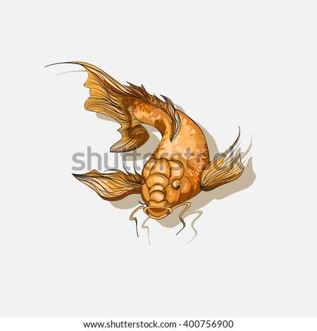 Koi Fish Template Goldfish Tattoo Stock Vector (Royalty Free ...