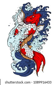 koi fish with water splash.Japanese koi carp tattoo design.