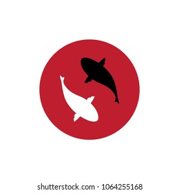 Koi Fishes Logo. Luck, prosperity and good fortune