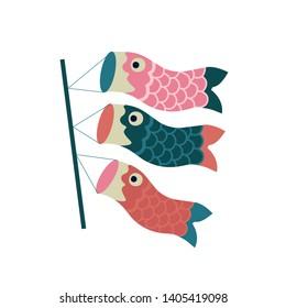 Koinobori carp streamer. Fish Kites. Traditional japanese Celebrating Children's Day. Vector illustration.