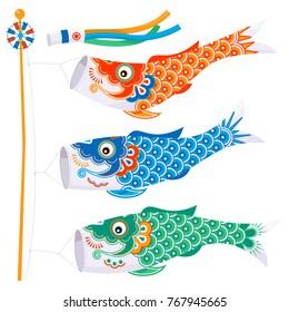 Koinobori (carp streamer). Fish Kites. Traditional japanese Celebrating Children's Day. Vector illustration.