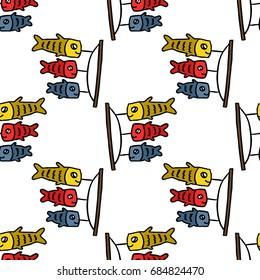koinobori seamless doodle pattern