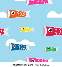 Koinobori seamless pattern vector illustration. Colorful Carp streamers flying on blue sky.