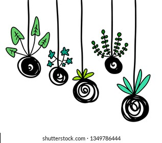 Kokedama hand drawn illustration in cartoon style for prints and posters minimalism