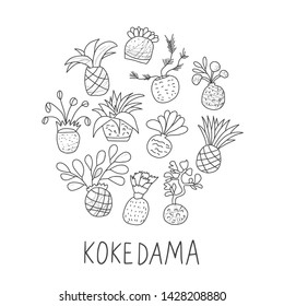 Kokedama round badge. Asian plant collection with text. Vector illustration.