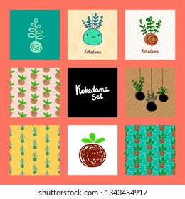 Kokedama set of eight illustrations hand drawn in cartoon traditional style minimalism and graphic design