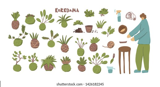 Kokedama set. Green plant collection with moss, tools, equipment, person and text. Vector illustration.
