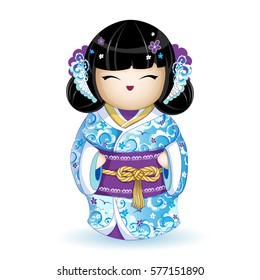 Kokesh Japanese national doll in a blue kimono with stylized sea waves, birds and pattern of flowers. Rope golden belt with a traditional knot. Vector. A character in a cartoon style. Isolated.