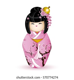 Kokesh Japanese national doll in a pink kimono patterned with cherry blossoms. Vector illustration on white background. A character in a cartoon style. Isolated.