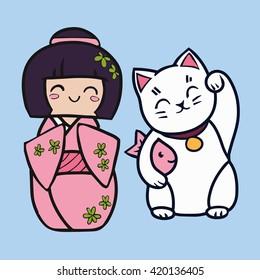 Kokeshi cartoon doll in kimono. Japanese traditional toy. Maneki neko cat with fish.