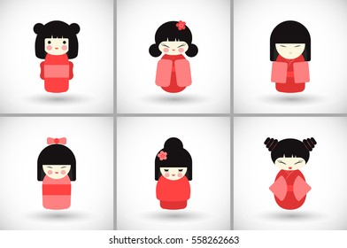 Kokeshi dolls set. Flat design icon collection of kawaii Japanese girls with round shadow. Vector illustration