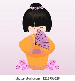 kokeshi with a fan. Vector illustration