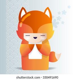Kokeshi girl in a fox pajamas. Traditional kawaii japan doll kokeshi wearing in a cute animal suit.