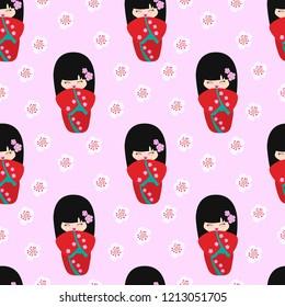 Kokeshi pattern. Vector illustration