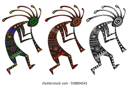kokopelli African god of fertility. Ethnic deity in Africa tribal pattern, vector illustration