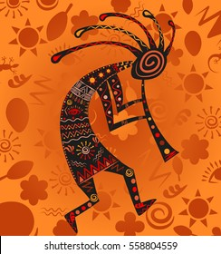 kokopelli -  ethnic African deity of fertility, vector illustration