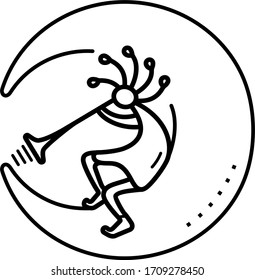 Kokopelli figure icon in outline