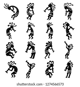 Kokopelli. A set of images of the American god of fertility.