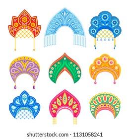 Kokoshnik - russian national lady's hat. Ethnic folk costume design.