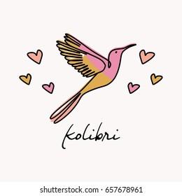 Kolibri line art with soomth color