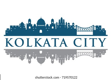 Kolkata Building Landmark Skyline vector, Logo Template