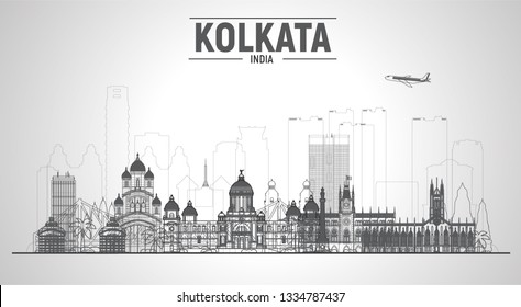 Kolkata ( Calcuta ) India line skyline with panorama at white background. Vector Illustration. Business travel and tourism concept with modern buildings. Image for banner or web site.