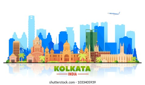 Kolkata ( Calcuta ) India skyline with panorama in white background. Vector Illustration. Business travel and tourism concept with modern buildings. Image for banner or web site.