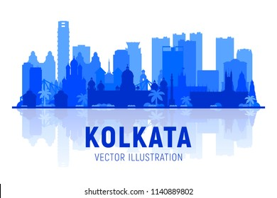 Kolkata ( Calcuta ) India skyline silhouette with panorama in white background. Vector Illustration. Business travel and tourism concept with modern buildings. Image for banner or web site.