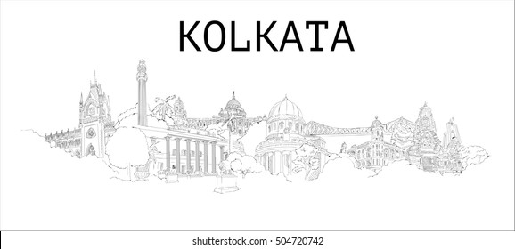 KOLKATA (Calcutta) city vector hand drawing panoramic sketch illustration