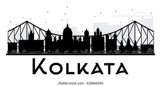 Kolkata City skyline black and white silhouette. Vector illustration. Simple flat concept for tourism presentation, banner, placard or web site. Business travel concept. Cityscape with landmarks