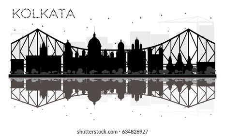 Kolkata City skyline black and white silhouette with reflections. Vector illustration. Simple flat concept for tourism presentation, banner, placard or web site. Cityscape with landmarks