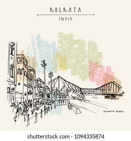 Kolkata, India. The British-era Howrah Junction Railway Station and Howrah Bridge across Hooghly River. Heritage colonial architecture. Famous historical landmarks. Vector hand drawn travel postcard