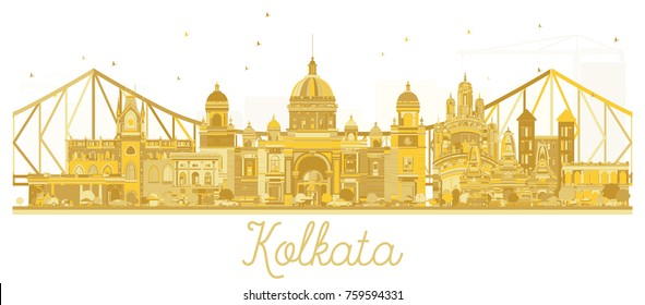 Kolkata India City skyline golden silhouette. Vector illustration. Business travel concept. Kolkata Cityscape with landmarks.