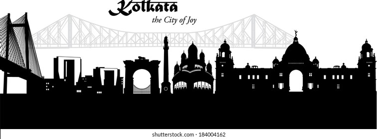 Kolkata, India, cityscape silhouette in black with bridges, temples and Victoria Memorial as vector illustration with pale bridge silhouette in the background.