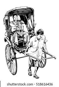 Kolkata, India - drawing a rickshaw with a passenger - vector illustration